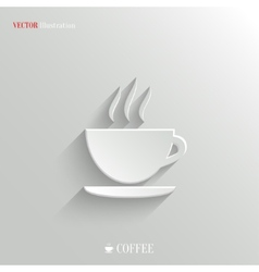 Coffee icon - white app button vector image