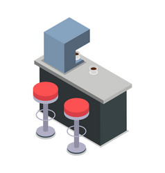 Coffee shop bar counter with red chairs isolated vector