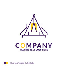 Company name logo design for tent camping camp vector