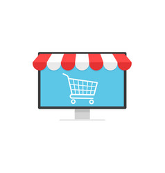 concept online shopping cart icon on monitor and vector image
