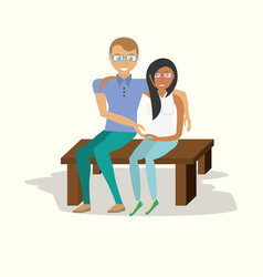 Couple sitting embracing image vector