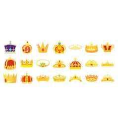 crown icon set cartoon style vector image