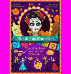 day dead catrina dancing skeletons marigolds vector image