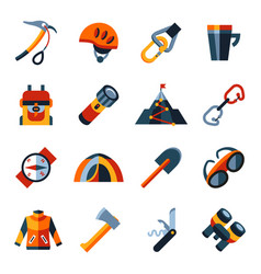 Digital mountaineering technology icons vector