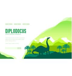 Diplodocus landing page template vector