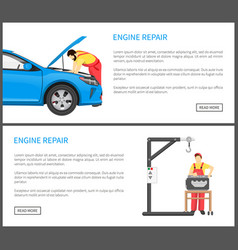engine repair web pages set vector image