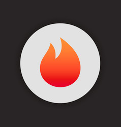 fire simple icon on circle gradient color flame vector image