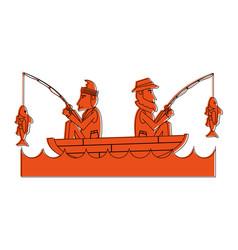 fishermen on boat icon image vector image