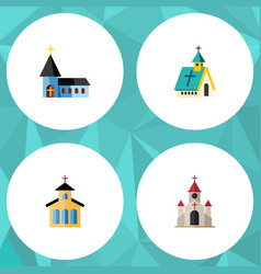 Flat icon building set of traditional vector