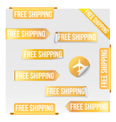 Free shipping yellow label design vector