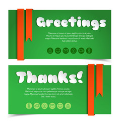 greetings cards with lettering in paper style vector image