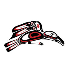 haida raven tattoo vector image