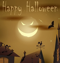 Halloween night evil moon above houses vector