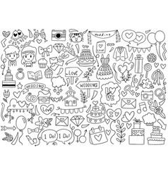 Hand drawn party doodles wedding element vector