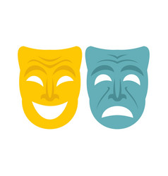 happy and sad mask icon flat style vector image