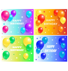 happy birthday backgrounds with glossy balloons vector image