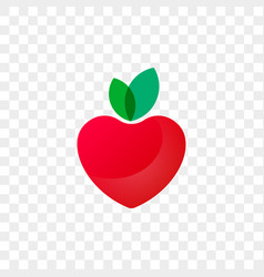 Heart logo apple fruit icon vector