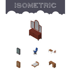 Isometric furnishing set of drawer sideboard vector