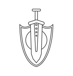 line art black and white sword shield wall decor vector image
