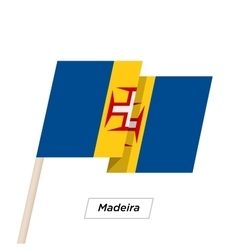 Madeira Ribbon Waving Flag Isolated on White vector image