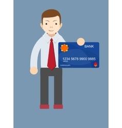 Man holding a bank card vector image