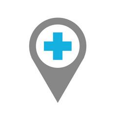 Map pointer icon qith cross hospital symbol vector