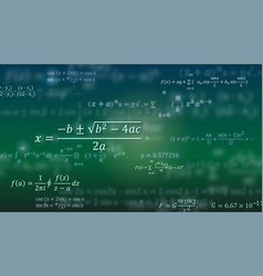 mathematical formulas abstract green background vector image