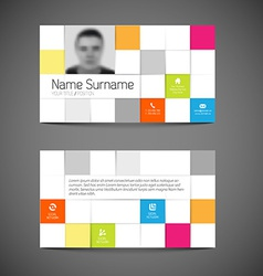 Modern mosaic business card template with flat vector image
