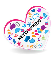 networking heart logo vector image