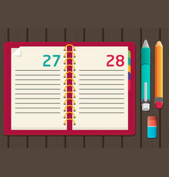 notebook with pen and pencil flat design vector image
