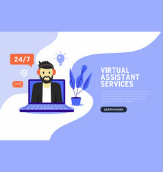 online virtual assistant services banner vector image