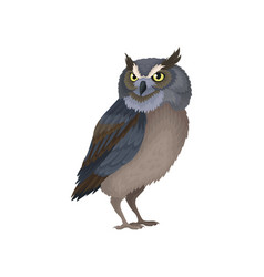 Owl with yellow eyes and blue-brown plumage wild vector