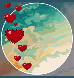 painted sky background in a circle with hearts vector image