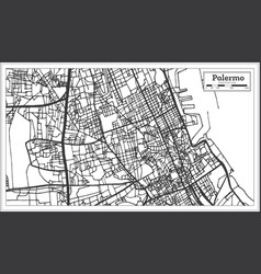 Palermo italy city map in retro style outline map vector