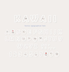 paper cut out kawaii font with funny smiling faces vector image