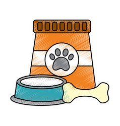 pet food and bowl bone animal vector image