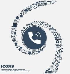 Phone icon in the center around the many beautiful vector