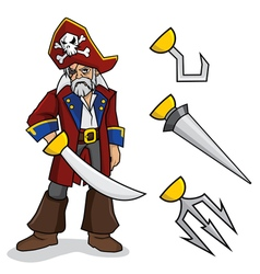 Pirate with Optional Hands vector