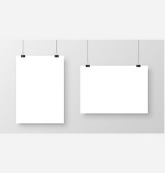realistic hanging blank paper sheet with shadow in vector image