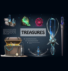 realistic treasures colorful composition vector image