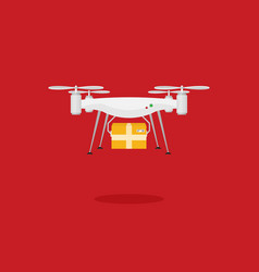 remote air drone with a box flat vector image
