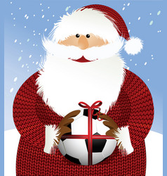 santa claus with soccer ball vector image