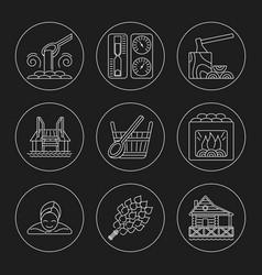 Sauna theme icon set vector