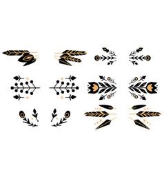 Set black silhouette tribal natural dividers vector