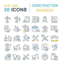 Set line icons construction business vector