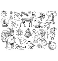 set merry christmas and new year xmas elements vector image