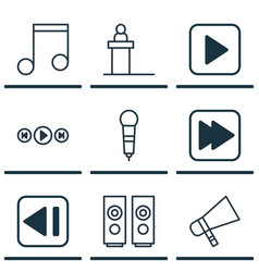 Set of 9 music icons includes microphone vector