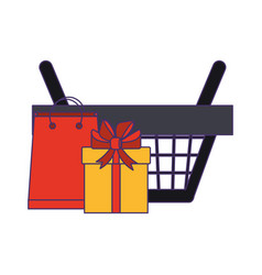 Shopping basket with gift box and bag blue lines vector