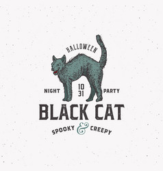spooky creepy black cat halloween night party vector image