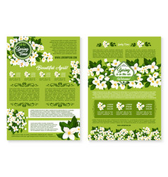 Spring wishes posters of flowers bunches vector